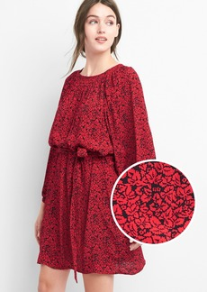Print tie-sleeve scoopneck dress