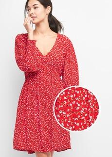 Print V-neck swing dress