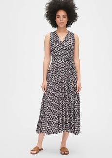 Gap Print Wrap-Front Midi Dress