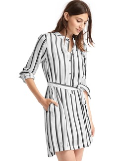 Printed tie-belt long sleeve shirtdress