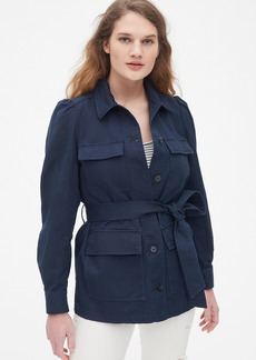 Gap Puff Sleeve Utility Jacket in Linen-Cotton