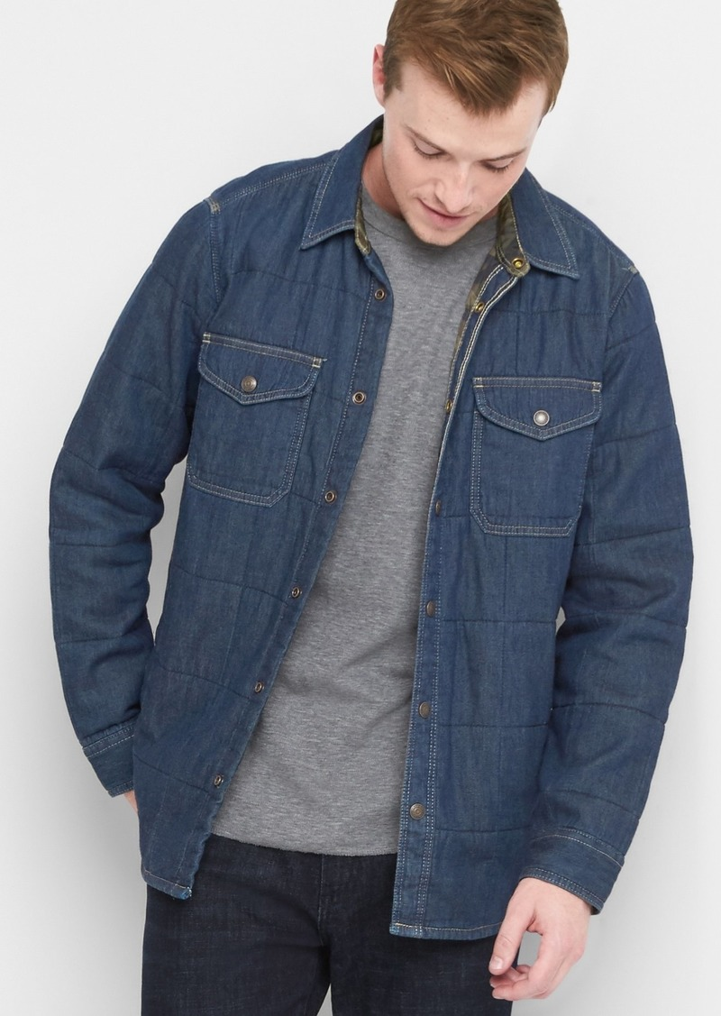 Gap Quilted Denim Shirt Jacket Casual Shirts