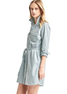 Railroad stripe tie-belt denim shirtdress