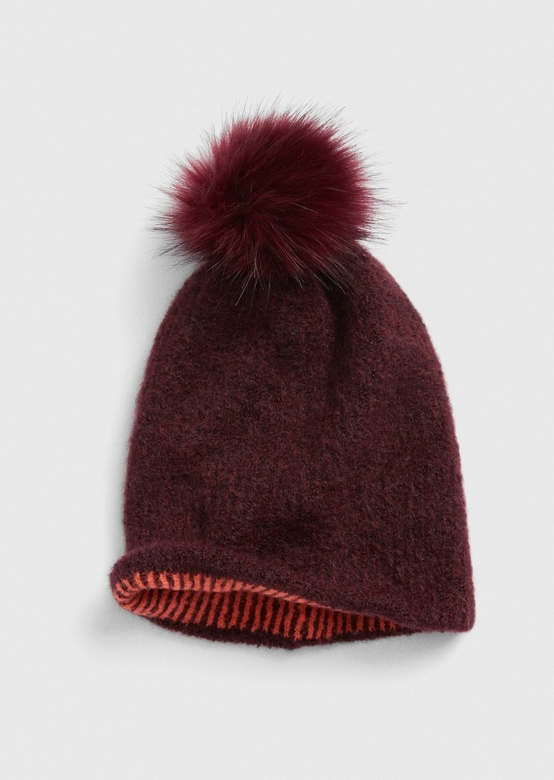 Gap Reversible Pom-Pom Ribbed Beanie