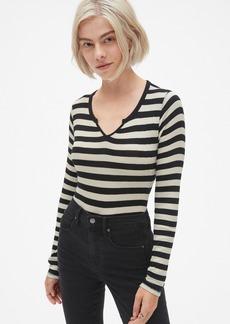 Gap Ribbed Stripe Long Sleeve Notch-Neck T-Shirt