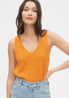 Gap Ribbed V-Neck Sweater Tank in Linen-Cotton