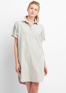 Gap Rolled Sleeve Popover Denim Shirtdress in Pinstripe