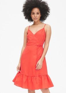 Gap Ruffle Cami Wrap Dress in Linen Cotton