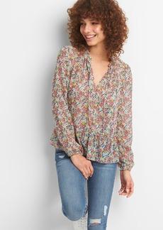 Ruffle Hem Floral Print Blouse