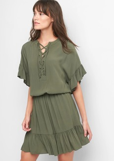 Ruffle lace-up dress