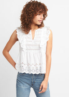 Gap Ruffle Sleeve Eyelet Top