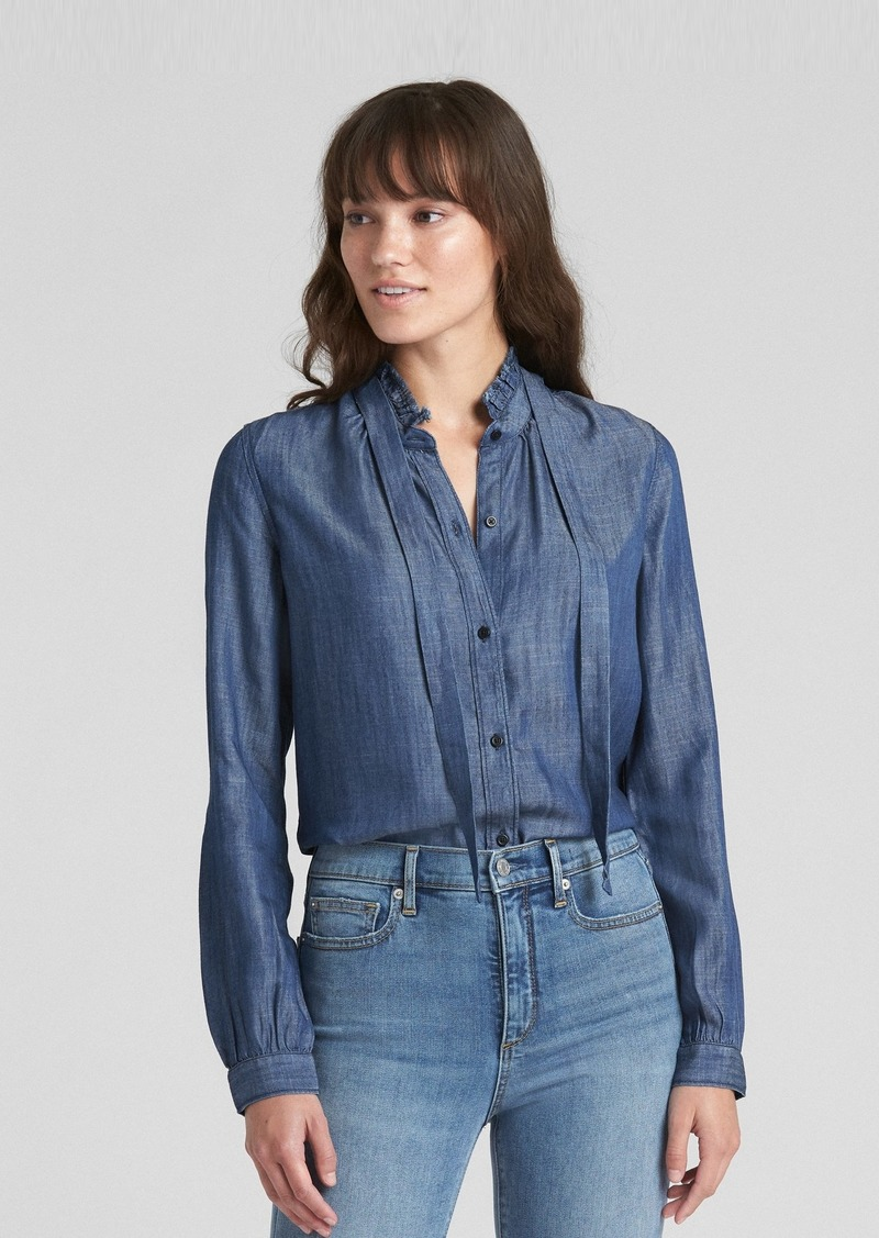 b5247b0825 Gap Ruffle Tie-Neck Shirt in TENCEL  153