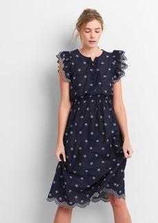 Gap Ruffle Trim Eyelet Midi Dress