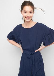 Ruffle trim tie-waist dress