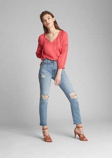 Gap Satin Peasant Blouse