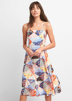 Scarf Patchwork Fit and Flare Midi Dress