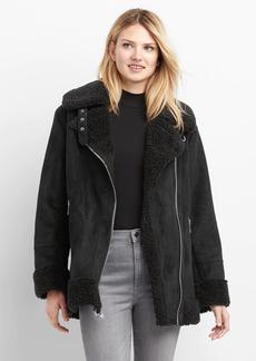 Sherpa faux-suede biker jacket