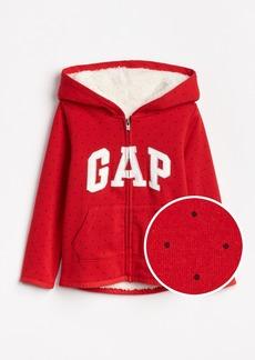Gap Sherpa-Lined Logo Hoodie Sweatshirt