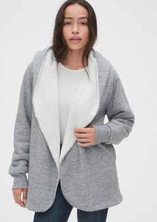 Gap Sherpa-Lined Open-Front Hoodie in French Terry