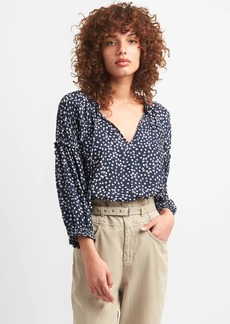 Gap Shirred Long Sleeve Print Blouse