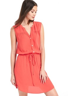 Gap Shirred sleeveless shirtdress