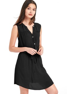 Shirred sleeveless shirtdress