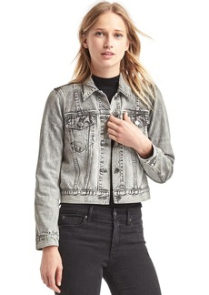 Short icon patch denim jacket