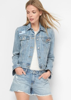 Short icon denim patch jacket