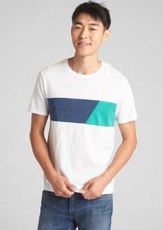 Gap Short Sleeve Chest Stripe Crewneck T-Shirt