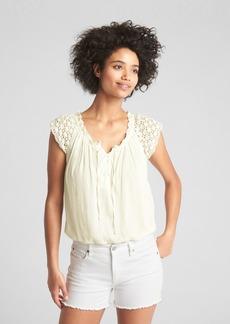 Gap Short Sleeve Crochet Lace-Up Blouse