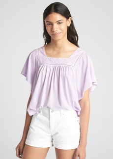 Gap Short Sleeve Eyelet Square Neck Top