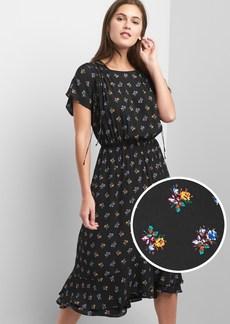 Short sleeve floral ruched dress