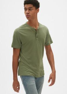 Gap Short Sleeve Henley in Cotton-Linen