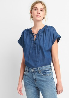 Gap Short Sleeve Lace-Up Denim Shirt