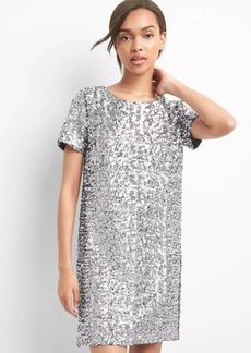 Short sleeve sequin shift dress