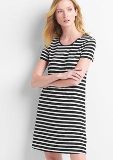 Short sleeve slub twist-back dress