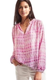 Silky split-neck blouse