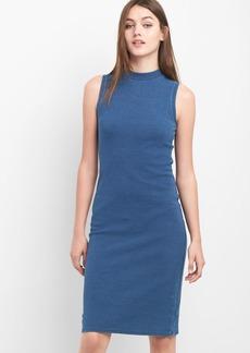 Sleeveless indigo mockneck dress