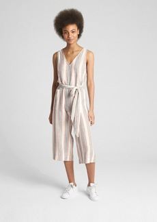 Gap Sleeveless Tie-Belt Stripe Jumpsuit in Linen