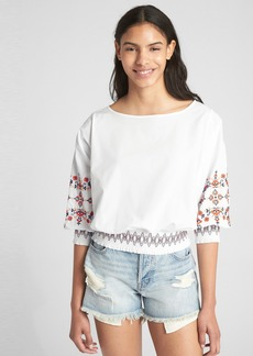 Gap Smocked Embroidered Balloon Sleeve Blouse