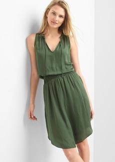 Smocked sleeveless keyhole dress