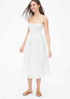 Gap Smocked Tie-Strap Midi Dress in Linen