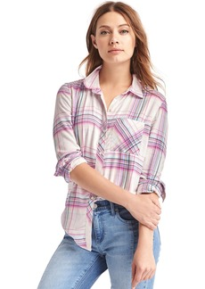 Gap Soft plaid boyfriend shirt