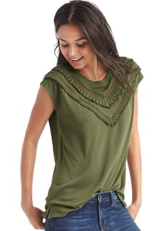 Gap Softspun knit crochet fringe top