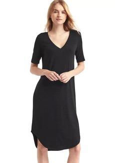 Softspun knit V-neck midi dress