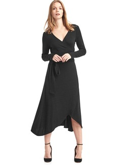Softspun knit wrap midi dress
