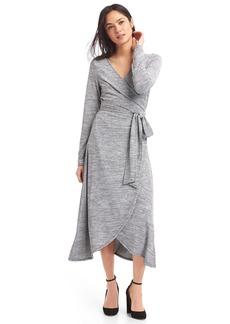 Gap Softspun knit wrap midi dress