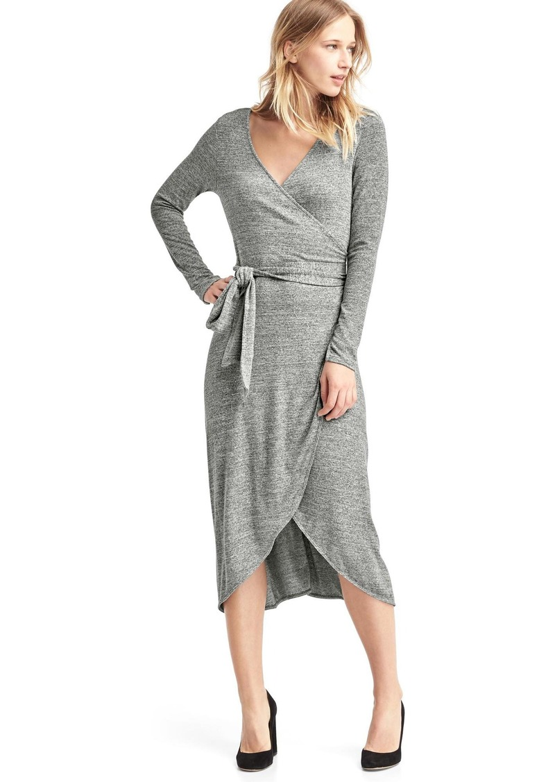 2d2971db0a2 Gap Softspun knit wrap midi dress
