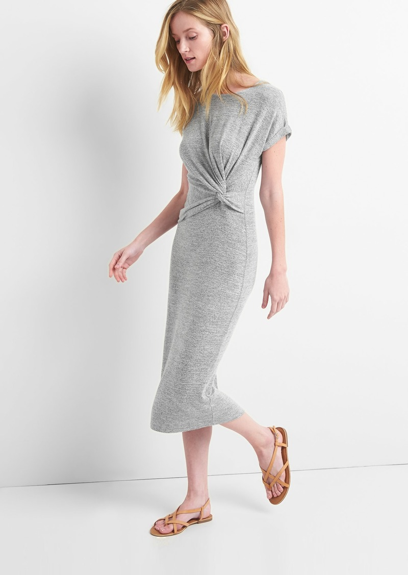 a7fc98ddef9 SALE! Gap Softspun Midi T-Shirt Dress with Twist-Knot Detail