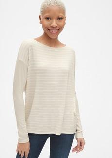 Gap Softspun Mix-Fabric Long Sleeve Stripe Top